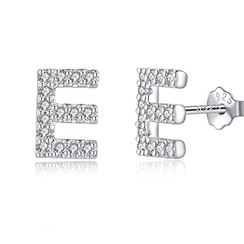 TIZU Orecchini con Lettere in Argento 925 Alberino Orecchini Anallergici per Donna Bambina Ragazza Orecchini Piccoli Iniziali con Zirconi Cubici Idee Regalo per Lei