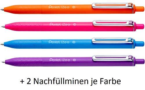 Pentel BX470 izee balpen 4 kleuren set incl. navulvullingen, gesorteerde kleur, kleur behuizing komt overeen met schrijfkleur, drukmechanisme, metalen clip, lijndikte 0,5 mm = boldiameter 1,0 mm