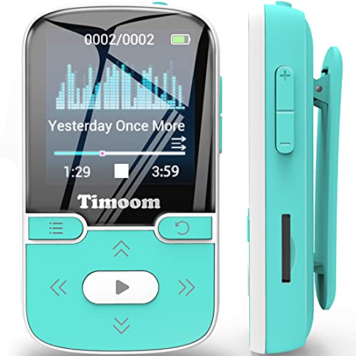 32GB MP3 Player with Bluetooth 5.0, Timoom Portable Lossless Sound Music Player with Clip, Sport Pedometer, FM Radio, Vioce Recorder, Expandable up to 128GB, Green