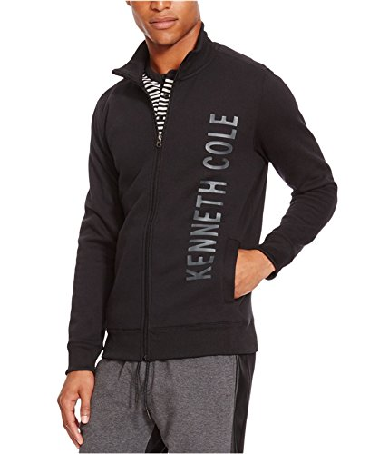Kenneth Cole REACTION Men's Full Zip Logo Long Sleeve Knit, Black, X-Large