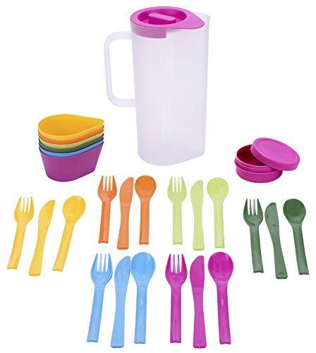 Culinario Party und Camping-Set, mit Camping Geschirr, Karaffe mit 6 Schalen, 6 Besteck-Sets, 1 Dose, aus Kunststoff, 16 x 10 x 24 cm