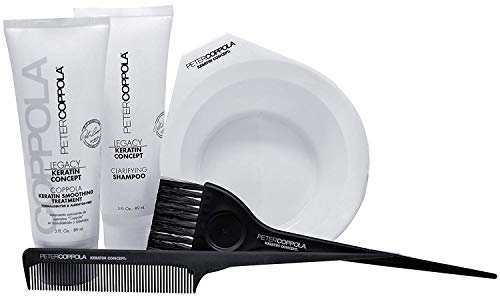 Peter Coppola Keratin Hair Treatment Kit - At Home Keratin Treatment - Includes: Treatment (3oz) Shampoo (3oz) Bowl, Brush and Comb. Straightens and Smooths All Hair Types
