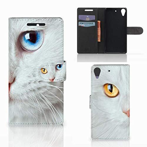 B2Ctelecom Schutzhülle kompatibel für HTC Desire 628 Lederhülle Weiße Katze - Personalisierung mit Ihrem Wunschnamen oder -tekst