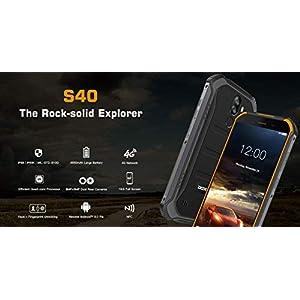 【2019】 DOOGEE S40 (3GB+32GB) 4G Android 9.0 Sólido Móvil Libre Robusto - 5.5'' HD (Gorilla Glass 4) IP68/IP69K Militar Resistente IP68 Impermeable Smartphone, 4650mAh batería,Dual SIM,GPS,NFC - Negro