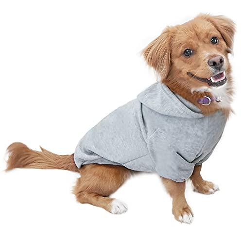 Eastlion Hund Pullover Welpen-T-Shirt Warm Pullover Mantel Pet Kleidung Bekleidung, Grau, Gr. M