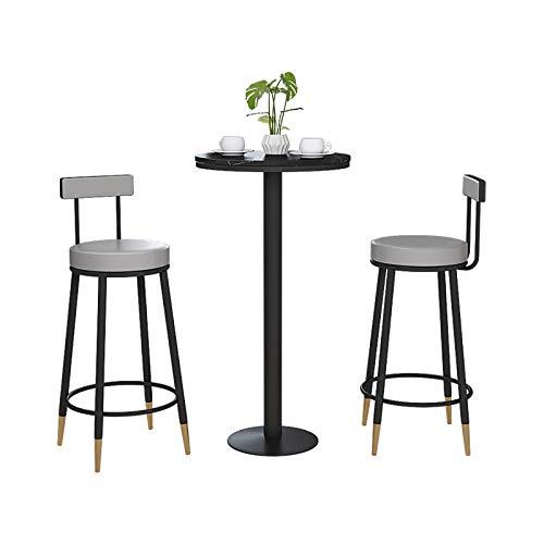 N/Z Home Equipment Barhocker 2er-Set mit samtbedeckter Rückenlehne und Metallfußstütze sowie für die Frühstücksbar Counter Kitchen und Home Grey