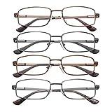 EFE Gafas de Lectura 4 Unidades Gafas para Leer Bisagra de Resorte Ligeras Comodas de Modas Vista de Cerca Hombre y Mujer (+3.00)