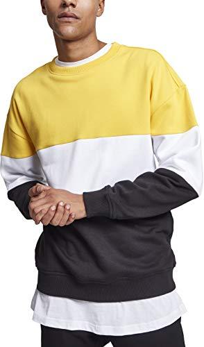 Urban Classics Herren 3-Tone Oversize Crewneck Pullover, Mehrfarbig (Chromeyellow/White/Black 01562), X-Large
