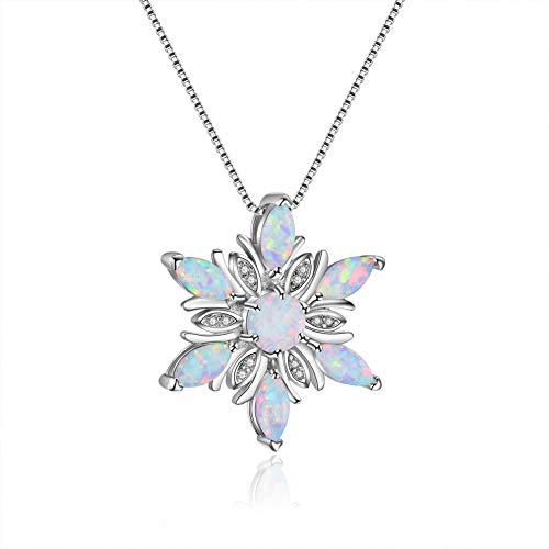 Plata de ley 925 con incrustaciones de ópalo azul copo de nieve colgante collar Lady Clavicle cadena joyería novia regalo de cumpleaños-White-One size