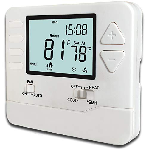 Heagstat H725 5-1-1-Day Programmable Heat Pump Thermostat, 2 Heat/1 Cool, With 4.5 sq. Inch Display