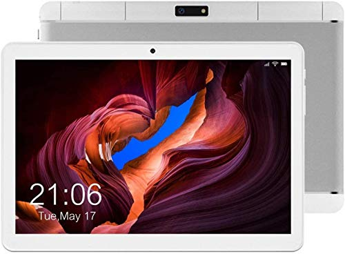 Android Tablet 10 Inch, 2GB+32GB 3G Unlocked Phablet, Android 9.0 Pie Tablets Phone, Dual SIM Cards Slots and 2MP+ 5MP Camera, 1280x800 IPS HD Display,WiFi,Bluetooth,GPS-Silver