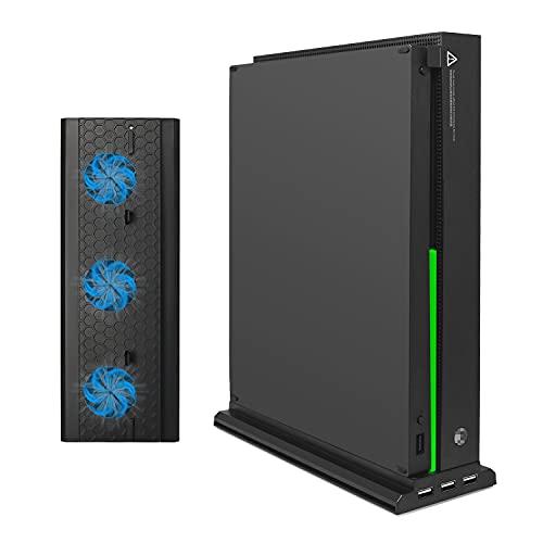 FASTSNAIL Ventilateur de Refroidissement Compatible avec Xbox One X, Support Compatible avec Xbox One X, 3 Ports USB et Barre Lumineuse (Uniquement Compatible avec Xbox One X)