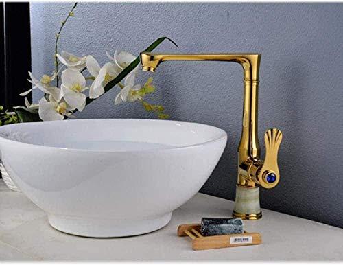 Grifo de lavabo Grifos de cocina Grifos de latón dorado Patrón de cola de golondrina Grifo de lavabo de baño 360 Girar Grifo mezclador de fregadero de agua caliente fría