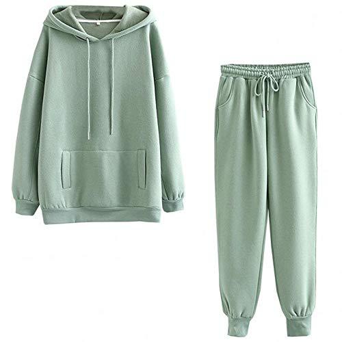 Charm4you Tie Dye Conjunto de Pijamas Ropa,Otoño e Invierno nuevos Pijamas Gruesos de Dos Piezas con Capucha-Verde Oscuro_M #,Moda para Mujer Tie-Dye Pijama