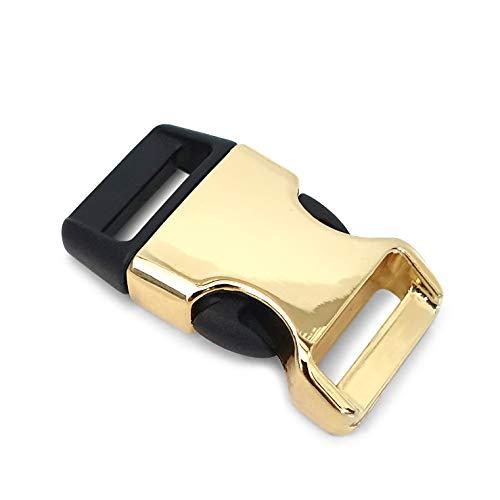 Ganzoo Lot de 8 fermoirs en plastique avec fermeture à clip pour bracelets paracorde, colliers pour chien, sac à dos, couleur doré/noir