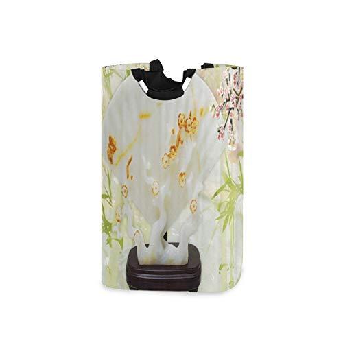 BEITUOLA Wäschesammler Wäschekorb Faltbarer Aufbewahrungskorb,Luxus Dekoration Pflaume Bambus Chinesisch Grün Blätter Weißer Hintergrund,Wäschesack - Wäschekörbe - Laundry Baskets