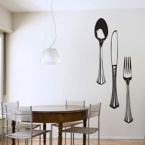 Besteck Set Vinyl Wandtattoo Küche Restaurant Wandaufkleber Löffel Messer Gabel Decor Home Decoration Wasserdichte Wandbild 57X21 Cm Schwarz