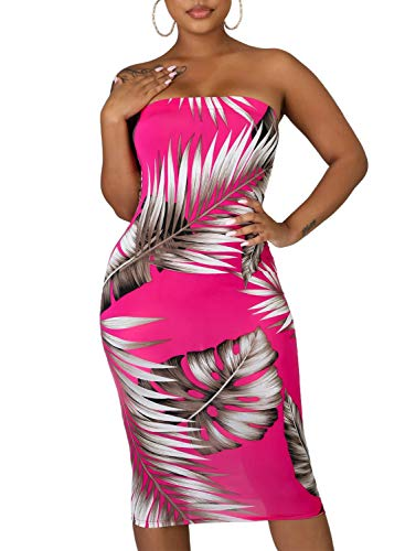 Dearlovers Womens Floral Strapless Off The Shoulder Bodycon Tube Midi Dress Rose Medium