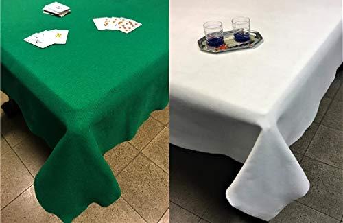 SpazioTessile Tovaglia Copritavolo Mollettone Salvatavolo Feltro Panno Verde o Bianco Gioco Poker (Bianco, 140x320)