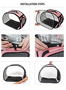Sinbide Sac de Transport Chien Chat Lapin Respirable Démontable Lavable Pliable Oxford (Noir transparant)
