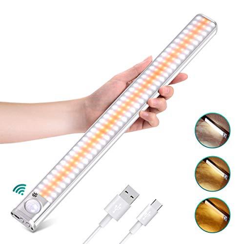 LED Bewegungsmelder Schrankbeleuchtung, Upgraded Sensor Schranklicht 160 LED, Wiederaufladbar Dimmbare Sensor Licht Nacht, 4 Modi LED Küchenleuchte, für Küche Kleiderschrank