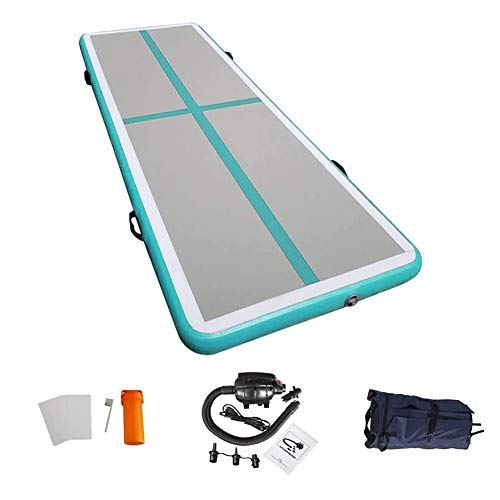 86 York 10ft Inflatable Gymnastics Air Tumble Mat Track Tumbling Mat with Electric Pump for Home Use/Training/Cheer leading/Beach/Park Water/Parkour Light Green