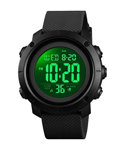 Boys Watch Digital Sports Waterproof Military Back Light Teenager Watch (Age for 11-15) 1426 (Black)