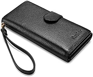 Women Wallet Genuine Leather Purse Female Zipper Folding Wallet with Wristlet Strap Long Purse for Coin/Phone/Credit Card