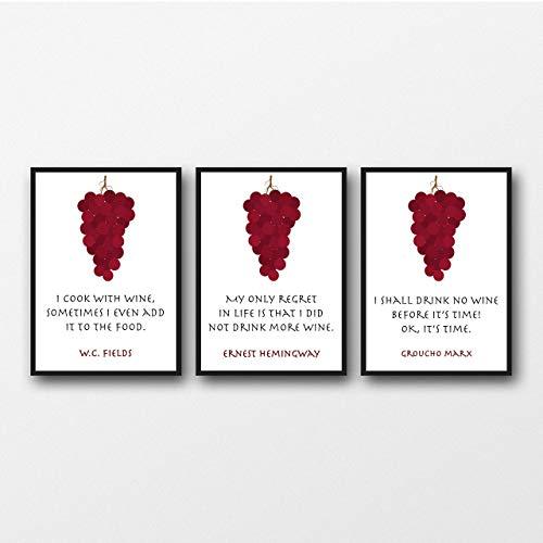 Satz von 3 Wein-Zitat-Drucke, Geschenk für Wein-Liebhaber