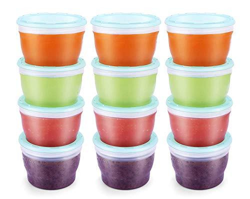 Aufbewahrungsbecher für Babynahrung BPA-fre Mini-Tiefkühldose Frischhaltedose mit schließendem Deckel 120ml 12er Pack Mintblau