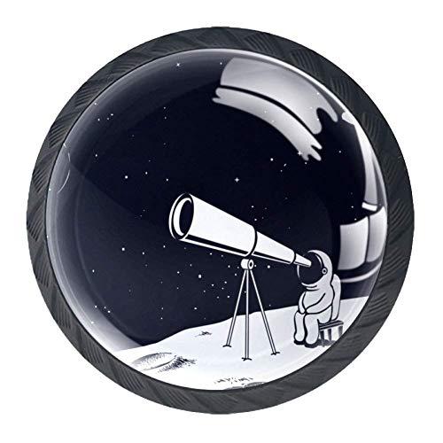 Astronaut sieht durch das Teleskop Mond Ziehgriffe für Schubladen, verschiedene Designs, Glasdruck, Schubladengriffe für Kommodenschubladen