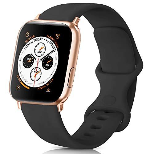 AK kompatibel mit Apple Watch Armband 42mm 38mm 44mm 40mm, Weiche Silikon Sport Ersatz Armband kompatibel iWatch Series 5, Series 4, Series 3, Series 2, Series 1 S/M M/L (#Schwarz, 42/44mm S/M)