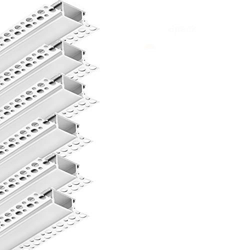 Plaster LED Profile, 6 Pack 3.3ft/1M LED Strip Light Diffuser Profile,Trimless Plaster in Aluminum LED Profile Drywall LED Aluminum Channel for Wall and Ceiling