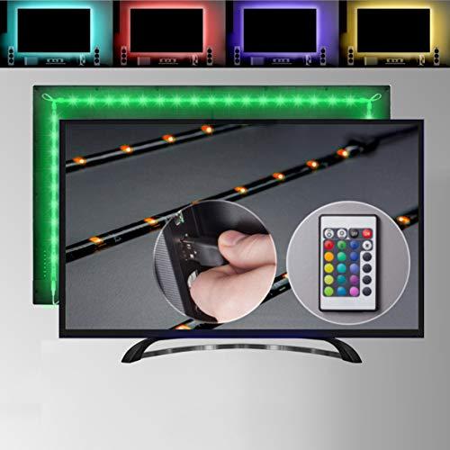 LED TV Hintergrundbeleuchtung, 2M USB Fernbedienung, Band Beleuchtung Fernseher/PC Bildschirm 40-60 Zoll, selbstklebend dimmbar Strip Streifen Lichtleiste Farbband mit Farbwechsel Effekte, schwarz