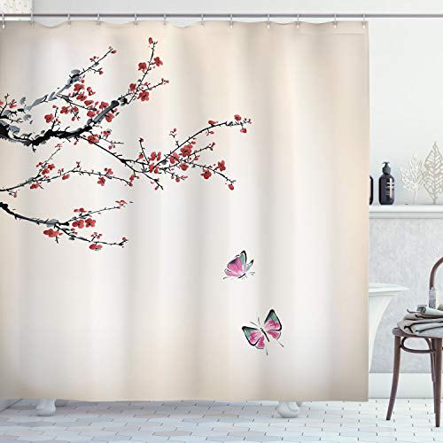 Ambesonne Watercolor Flowers Decor Collection, Blooming Cherry Tree and Butterflies Watercolor Painting, Polyester Fabric Bathroom Shower Curtain Set with Hooks, Paprika Pink Ivory