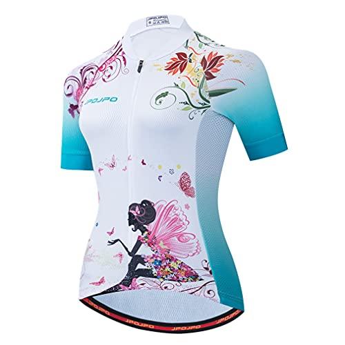 Camisa feminina de ciclismo de manga curta com camisa de ciclismo de montanha, Menina branca, G
