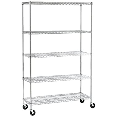 Seville Classics 5-Tier UltraDurable Commercial-Grade NSF Steel Wire Shelving with Wheels, 48  W x 18  D x 72  H