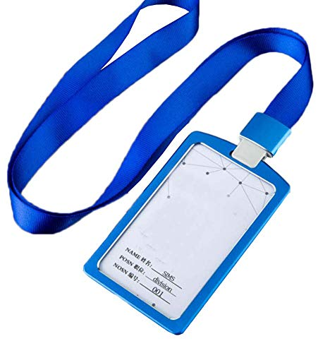 Aluminum Alloy Vertical Style ID Card Badge Holder with Neck Lanyard Strap 3PCS, 24