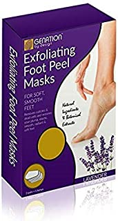 Genation Exfoliant Foot Peel Mask - All-Natural Antifungal Peeling Treatment For Soft Smooth Feet- Dead Skin & Callus Remover Repairs Cracked Rough Dry Soles & Heels (2 Pair) Lavender Scented