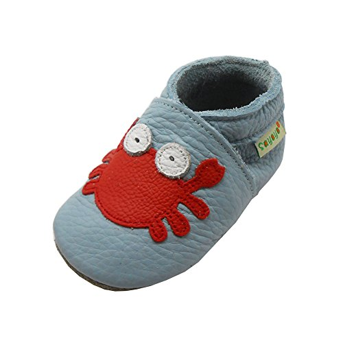 SAYOYO Baby Cute Crab Soft Sole Leather Baby Shoes Baby Moccasins (6-12 Months, Blue)