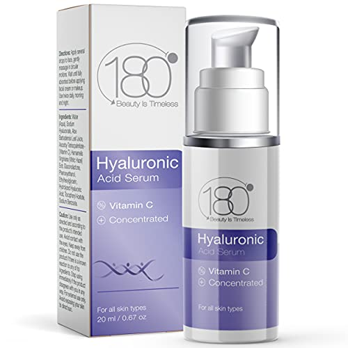 Hyaluronic Acid Serum for Face with Vitamin C by 180 Cosmetics Beauty is Timeless - Smooth & Rejuvenate Anti Aging Serum for Face Hydrating Moisturizer - Wrinkle Remover - Triple Replenish Formula