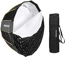 NiceFoto LED 35inch/90cm Quick Set-up Folding Deep Parabolic Umbrella Softbox Photography Studio SoftBox with Grid Carry B...