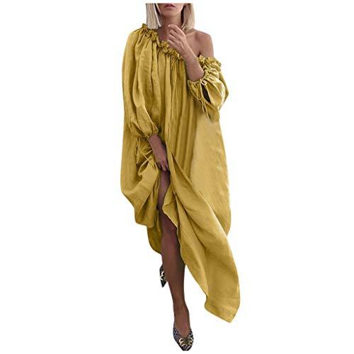 iQKA Women Plus Size Casual One Shoulder Shirt Dresses Vestido Vintage Solid Color Loose Boho Maxi Dress Yellow