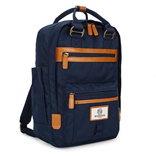 """SEVENTEEN LONDON – Zaino 'Wimbledon' in blu marino e marrone scuro nello stile di uno zainetto scandinavo – perfetto per un laptop da massimo 13"""""""
