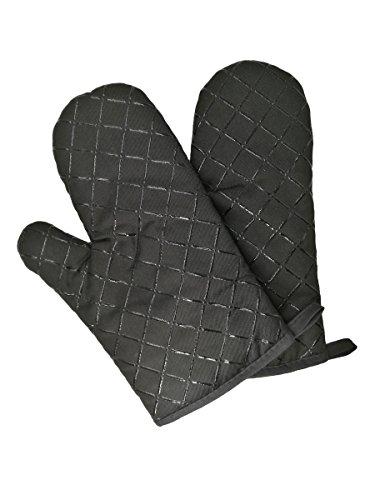 Camilife 2 Stücke Verdickte Hitzebeständige Ofenhandschuhe Topflappen Mikrowellenofen Handschuhe Backhandschuhe Silikon rutschfest-schwarz, Stoff, Breite 18cm Länge 28cm