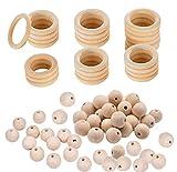 NACTECH 50pcs Bolas de Madera 20mm con 25pcs Anillos de Dentición de Madera 50mm Bola de Madera Redondo para Niños DIY Cuentas de Madera Sin Tratar para Collares de Lactancia Colgantes Joyeria