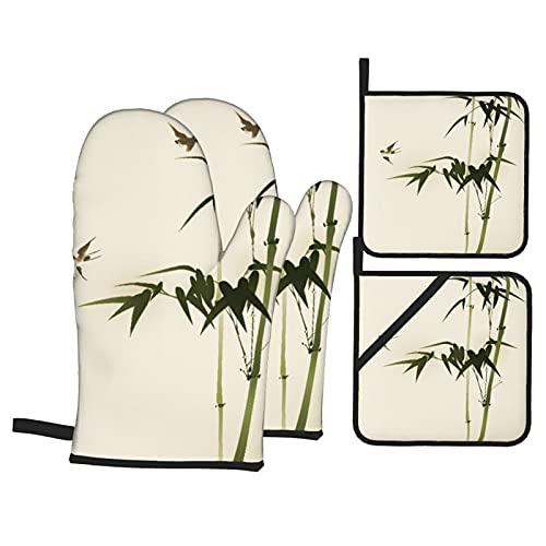 FAKAINU Guantes y agarraderas para Horno, Árbol Verde Zen Ramas de bambú Cepillo de Elegancia Oriental Pintura de la Naturaleza Patrón de pájaro,Guantes Resistentes al Calor Guantes aislantes