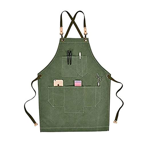 Tool Apron, Unisex Cross Back Work Apron Heavy Duty Thicken Waterproof Canvas Apron Multifunctional Pockets Garden Pottery Grill Apron (Color : Green)