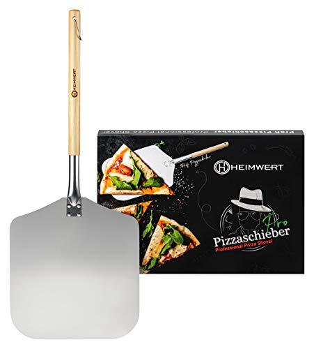 HEIMWERT Pizzaschieber Pizzaschaufel Pizza Schieber - Massive und extrem robuste große Pizza Schaufel aus Metall und Holz I Pizzaheber für Pizza Ofen Zubehör und Pizzastein Pizza Shovel Peel Grill
