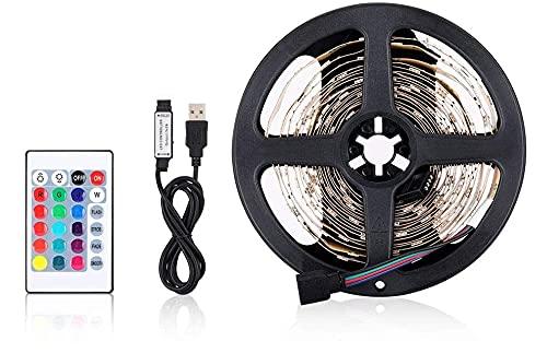 Tiras LED TV Tira LED USB RGB 5m Luces LED Habitación Gaming con Control Remoto y Caja de Control con Múltiples Colores y Modos de Escena, Autoadhesiva 5M para TV/PC, Eficiencia energética A